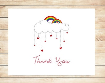 Rainbow Thank You Cards - Rainbow Stationery