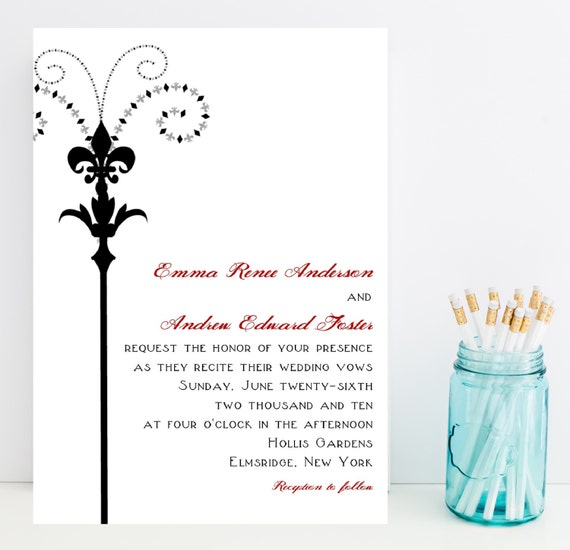 Fleur De Lis Wedding Invitations New Orleans By Whimsicalprints
