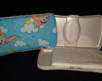 Dumbo Fabric Covered Baby Wipe Case