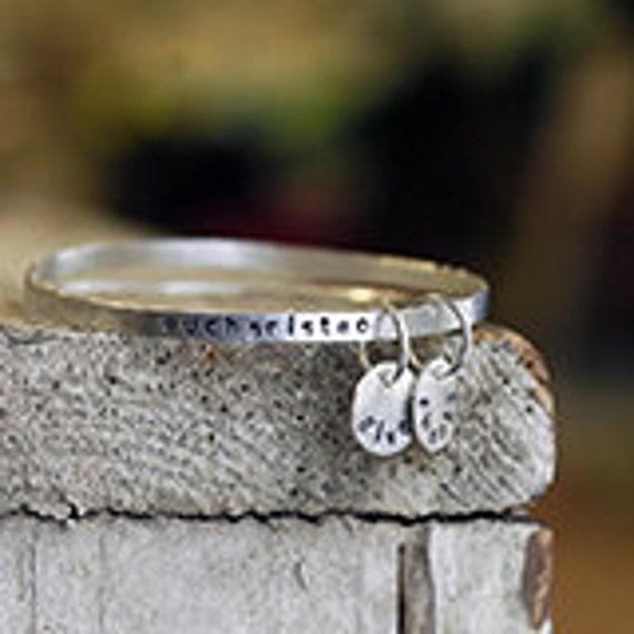 Bangle Bracelets - Stacking Bangles - Custom Personalized Handstamped Message - EcoFriendly Sterling Silver - Message Bracelet B1028