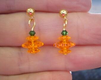 Pumpkin Earrings, Dangle, Pierced Look, Pierced Post