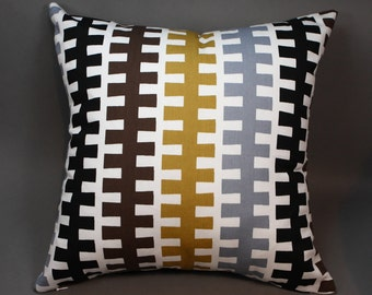 """Off White Decorative Pillow Cover with """"Zipper"""" Stripes, 18"""""""