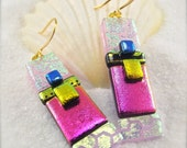 Dangle & drop earrings, Dichroic Earrings, gold earrings, fused glass jewelry, women's handmade jewelry, handcrafted dichroic earrings,