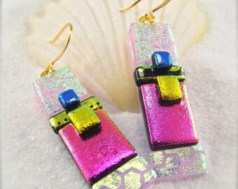 Dangle & drop earrings, Dichroic Earrings, gold earrings, fused glass jewelry, women's handmade jewelry, handcrafted dichroic earrings,