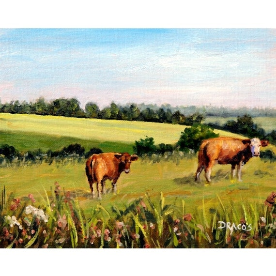 Two Cows In A Field Farm Animal Art Original Painting 8x10