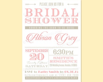 Custom Modern Retro Rustic BRIDAL SHOWER Party Invitation Invite Printable Digital Design - Typography / Old Fashioned / Arrows / Dots