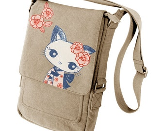 Kimono Kitty Military Style iPad Bag