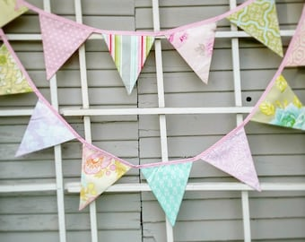 Long Shabby Chic Bunting Feat. Reproduction Prints, Ready 2 Ship Photography Prop,  15 Fabric Flags, Pastels, Floral. Weddings and Parties.