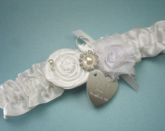 White Wedding Garter, Personalized Bridal Garter, with a Handmade Rose, Pearls, Rhinestones, and Engraving