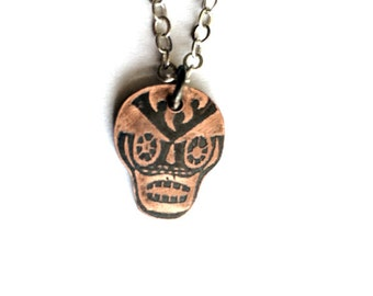 Etched Skull Necklace in Copper