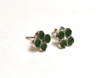 Green Circles Small Resin Post Stud Earrings Sterling Silver