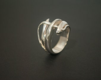 sterling silver ring Kabu solid asymetrical