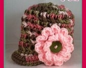 Newborn (0-3 Months) Pink Camouflauge Newsboy Hat With Light Pink Flower and Fern Button