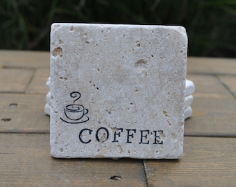 Coffee Natural Stone Coasters. Set of 4. Housewarming, Hostess, Coffee Lover