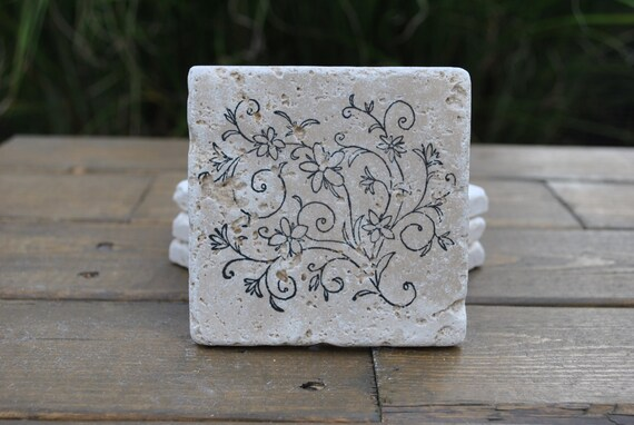Floral Frenzy Natural Stone Coasters .Set of 4. Housewarming, Hostess, Wedding