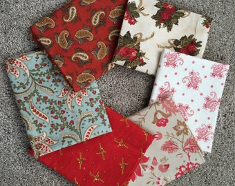 Fabric Destash no. 158, 159 -- 6 Fat Quarters -- Christmas