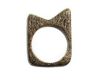 SAMPLE SALE Porterness Studio Naughty Bronze Furry Or Smooth Kitten Ring