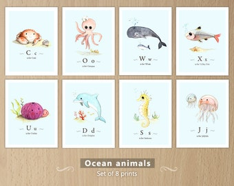 Ocean themed nursery, Ocean animals print set, Sea animals, Ocean animals nursery, Sea creatures, Ocean creatures set of 8 prints