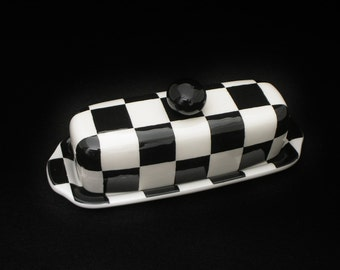 Butter Dish. Checkerboard Knobbed Butter Dish. Dish. Handmade by Sara Hunter Designs.