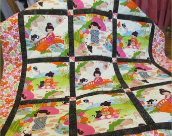 Baby Quilt, Girl, Aoi Has 2 Sisters, crib bedding, toddler, blanket, Asian, Japanese, Pink, Green, batik, floral, flowers, cat, handmade