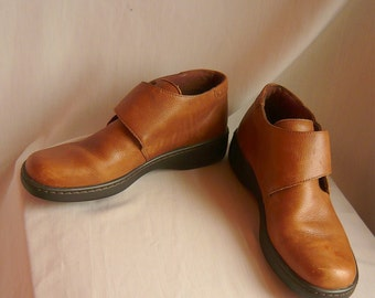Vintage MONK OXFORD Ankle Boots 8 Eur 38.5 Uk 5.5  Leather WEDGE Flat Sole Booties Brazil Naturalizer