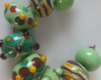 Handmade glass beads-lampwork beads-loose beads-set of eight lampwork beads-SRA