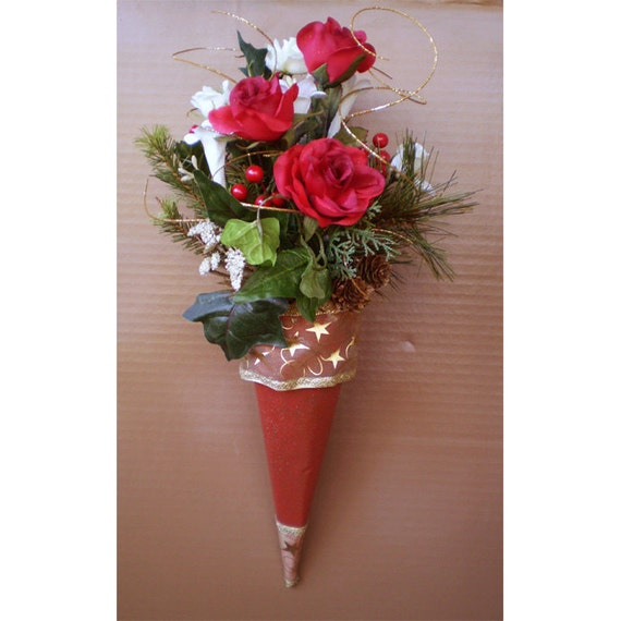 Holiday home decor Christmas Yule Winter Victorian style paper floral cone flower arrangement