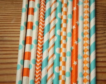 25 Miami Dolphin Party Straws - light aqua and orange, assorted patterns