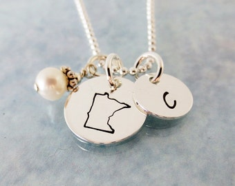 Hand Stamped Jewelry - Personalized State Necklace - Initial Necklace with Pearl or Birthstone - Customized - All State Charms Available