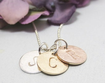 Initial Charm Necklace - Personalized Necklace - Three Initials - Silver Gold Mixed Metal Discs - Hand Stamped Jewelry - Dainty Initials