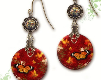 Monarch Butterfly Shimmerz Dangle Earrings - Two Sided Glass Art  - Victorian Garden Collection - Red Monarch Butterfly Garden Earrings