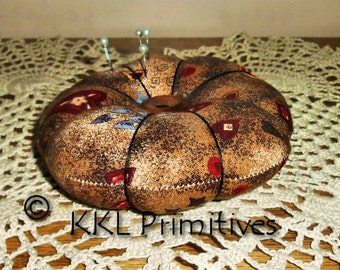 5 1/2 inch Round Primitive Fabric Pin Cushion / Pin Keep