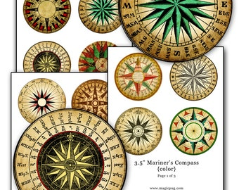 Mariner's Rose Compass Color digital collage sheet 3.5 inch circle 88.9mm 8.89cm
