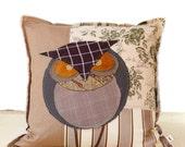 Owl Decorative Art Pillow - Great Horned Canadian Owl Brown Green Decorative Fiber Art Pillow Case