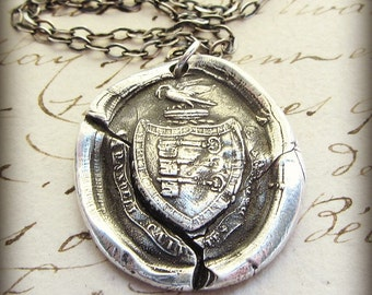 Guardianship Wax Seal Crest Necklace - I Will Protect The Ones I Love - Family First Necklace - L1165