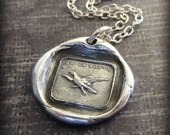 Fearless Wax Seal Necklace -  Eagle soaring towards the sun Fearless - French Wax Seal Jewelry - I Am Fearless - FS665