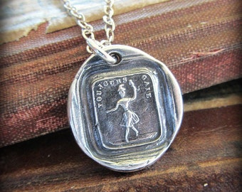 Always Cheerful French Wax Seal Necklace - Ballerina Dancer - always cheerful when I'm dancing - Be Happy - FS685