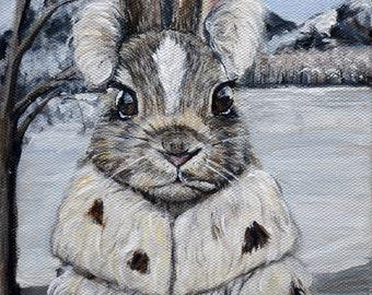 Bunny print, animal art print , rabbit art print, animals in clothes, kids wall art, nursery art, giclee art print bunny painting