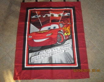 """Disney Pixar Cars Wall Hanging 35"""" x 43"""" (backed in black cotton fabric) - Clearance Sale 25% Off *"""