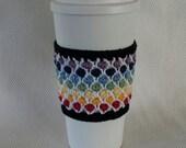 Crocheted Rainbow Window Pane Cup Cozy