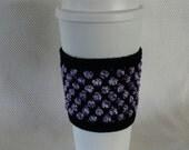 Purple White Black Crocheted Cup Cozy