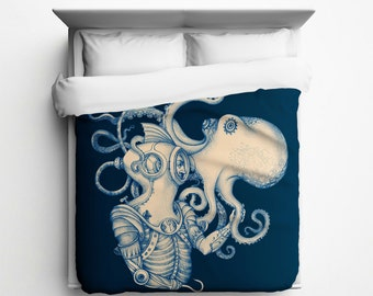 Deep Sea Discovery, Diver, Octopus Duvet Cover - Made in USA