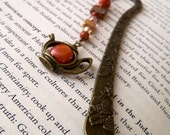 Unique Gift - Beaded Bookmark with Teapot Charm - Bookclub Gift - Glass Bead Bookmark - Teapot Charm Bookmark - Gift for Book Lover