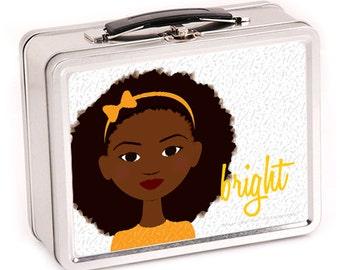 Little Sister in Orange Metal Lunch Box