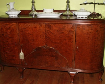 Antique Curved French Country Buffet - Sideboard - Credenza