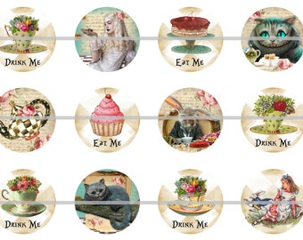 """1""""  Flatback Alice Tea Party Buttons, Pins, Magnets 12 Ct."""