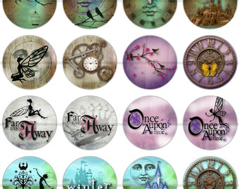 """1"""" Inch Fairy tale Flatback Buttons, Pin, or Magnets 12 Ct."""