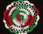 "New Handmade Crocheted ""Elegance"" Coaster/Doily in Christmas"
