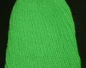 New Handmade Neon Green Knit Hat - Extra Stretchy Fits Child to Women's Small