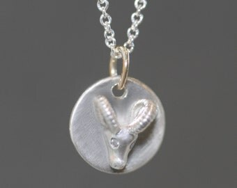 Ram Disk Necklace in Sterling Silver with Diamonds